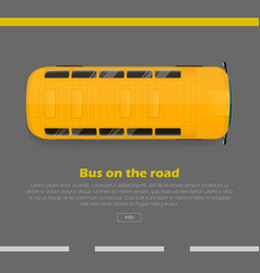 bus on road conceptual flat web banner vector image
