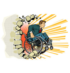 Businessman in a wheelchair disabilities and vector