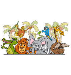 cartoon african safari wild animals group vector image vector image