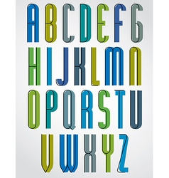 Colorful binary stylish narrow font rounded upper vector