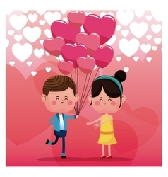 Couple loving pink balloons rain heart background vector