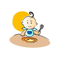 Cute little baby sitting eating its food vector image