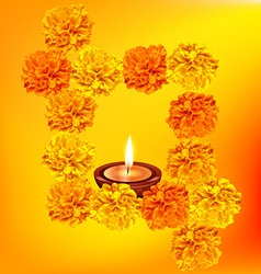 Decorative diya with flowers vector
