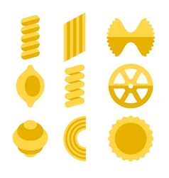 Different types of pasta icons set vector