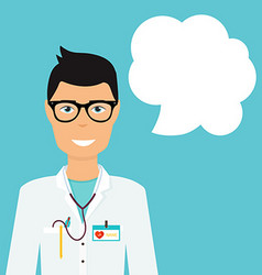 Doctor in in medical uniform and speech bubble vector