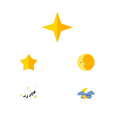 Flat icon bedtime set of star starlet lunar and vector