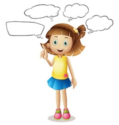Girl with four speech bubbles vector image