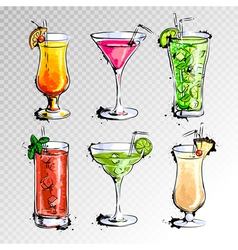 Hand drawn of set of cocktails vector