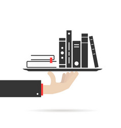 hand holding group of books on plate vector image