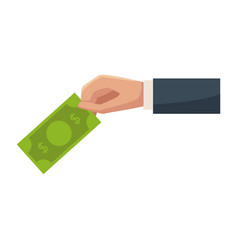 Hand with money billet isolated vector