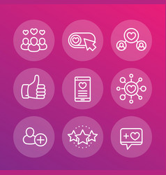 likes followers rating linear icons set vector image vector image