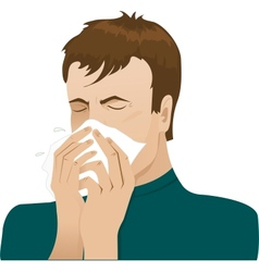 Man sneezing in handkerchief vector
