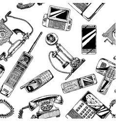 Pattern with telephone and mobile phone vector