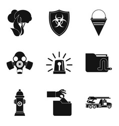 Protection of the park icons set simple style vector