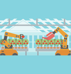 Robot working in a greenhouse vector