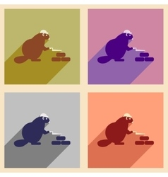 Set of flat icons with long shadow beaver builder vector