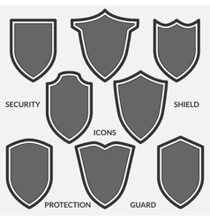 Set of shield icons Monochrome security signs vector image vector image