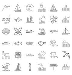 Water supply icons set outline style vector