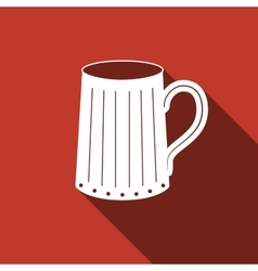 Wooden beer mug icon with long shadow vector
