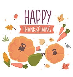 thanksgiving with vegetables and text happy vector image