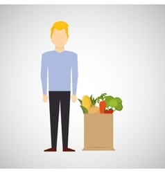 Cartoon man blond with shop bag healthy food vector