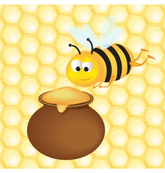 Honey pot and bee vector