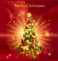 Red merry christmas gift tree design vector
