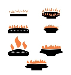 Set of gas icons with burner vector