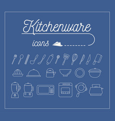kitchenware icons design set vector image