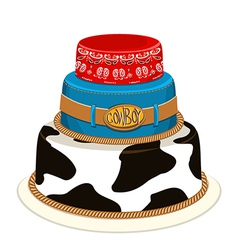 Cowboy party birthday cake vector image