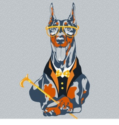 Hipster dog doberman pinscher breed vector