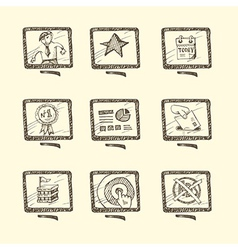 Hand drawn business icon set vector image