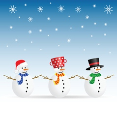 Snowman set color vector