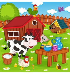 Farm animals in barnyard vector