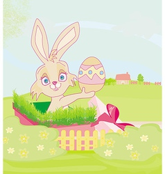 Little rabbit in gift box easter surprise present vector