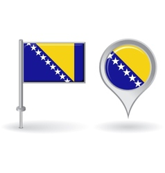 Bosnia and herzegovina pin icon map pointer flag vector