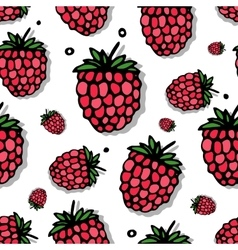 Raspberry seamless pattern for your design vector