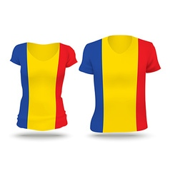Flag shirt design of romania vector