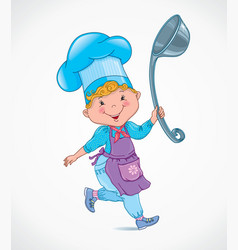 Chef kids with ladle vector image