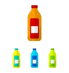 Bottle flat icons set vector