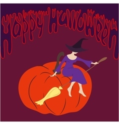 Young witch sitting on the pumpkin vector