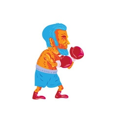 Bearded boxer boxing cartoon wpa vector