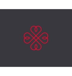 Four hearts symbol heart cross logotype vector