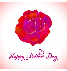 Happy mothers day beautiful blooming red rose vector