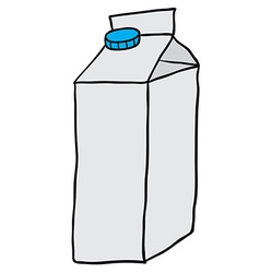 Freehand drawn cartoon milk carton vector