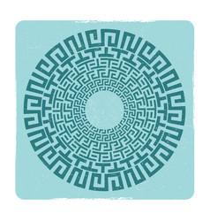 ancient greek round meander key emblem vector image vector image