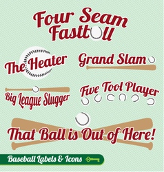 Baseball Bat and Ball Labels and Icons with Slogan vector image vector image