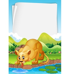 Border design with lion by the pond vector