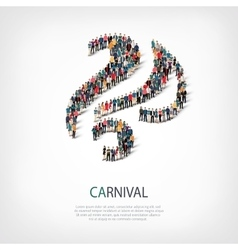 Carnival people sign 3d vector