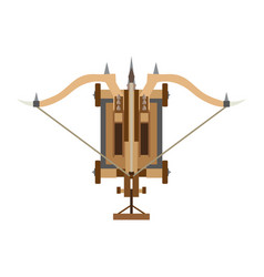 Catapult icon medieval war weapon old white vector